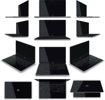 frontal view: Vector illustration of a laptop - multiple views  Generic elegant, glossy design, full keyboard with Numerical Pad, full array of connectivity ports drawn in high detail