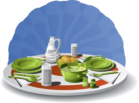 salt water: Vector illustration of a table set for two  Complete set  soup bowl, water carafe, plates and spoons, forks, knives, salt and pepper shakers, bread basket