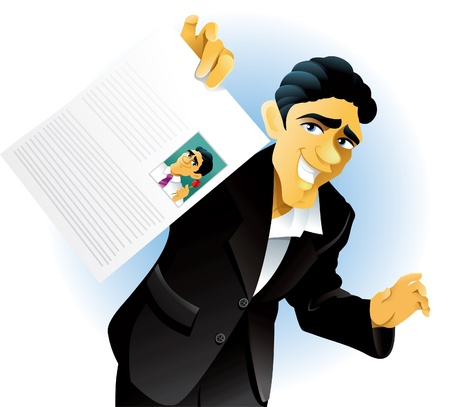 con man: Vector illustration of a man showing off his curriculum vitae