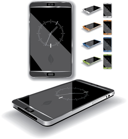 frontal view: Vector illustration of a touch-screen smartphone  Multiple color choices, generic elegant, glossy design  Illustration