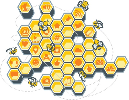 Vector Illustration of a honeycomb filled with social media icons