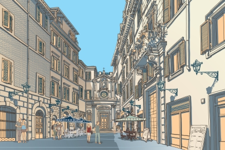 at town square: Highly detailed vector sketch of an European town square  Baroque architecture and lively cafe bars  Illustration