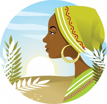 African woman profile  Illustration