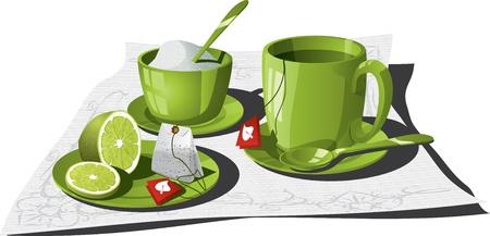 teacups: illustration of a personal tea set.