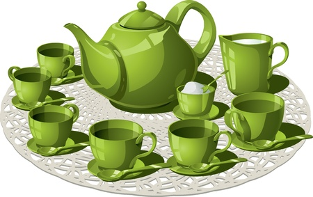 Tea Time illustration of a complete tea set Vector