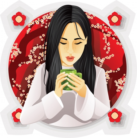 calm down: illustration of a girl drinking tea