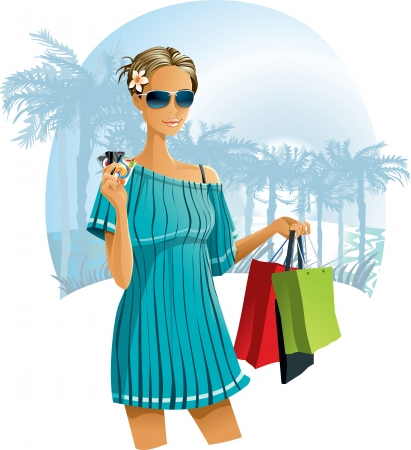 wealthy lifestyle: Vacation Shopping - illustration of a young woman with shopping bags and credit cards on an exotic background with palm trees