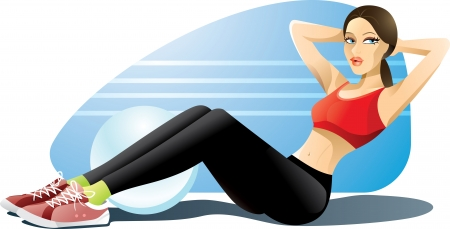 laying abs exercise: Woman Exercising Abs - illustration of a girl doing her abdominal exercises in a gym outfit Illustration