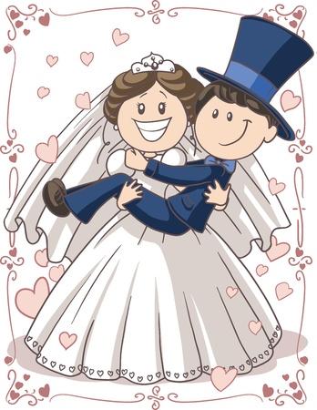 결혼식 안내장 커플 - 재미있는 포즈에 신부와 신랑의 벡터 만화
