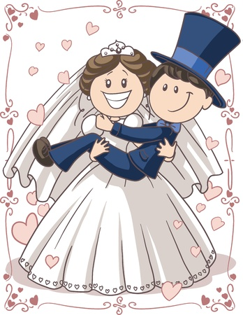 Uitnodiging van het Huwelijk Paar - Vector cartoon van de bruid en bruidegom in een grappige pose Stock Illustratie