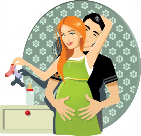lovely pregnant woman: Pregnant Couple - Vector illustration