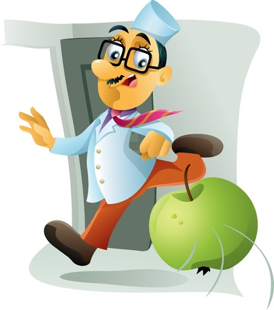 throw away: One Apple A Day Keeps the Doctor Away - Vector caricature of a doctor being chased away by an apple