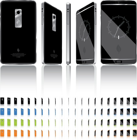 Smart Phone 3D Rotation - 21 Frames - 4 Colors  Vector