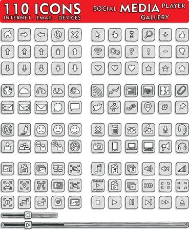 ソーシャル メディアの手描きアイコン - 110 のアイコンを設定  イラスト・ベクター素材