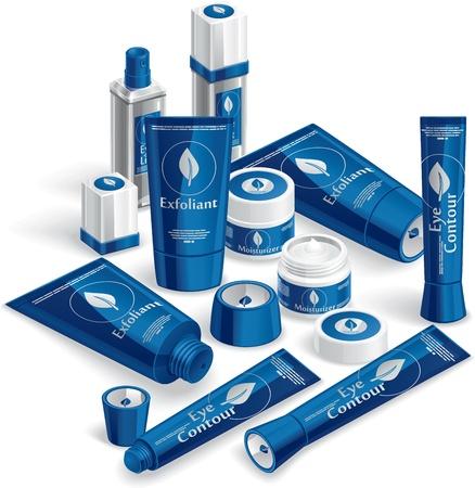 cremas faciales: Cosméticos azul Array - ilustración Vectores