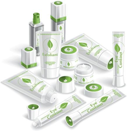 cremas faciales: Cosméticos Blanco Array - ilustración Vectores