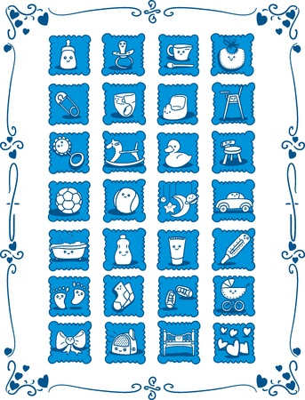 baby girls smiley face: Blue Baby-Theme Cartoon Icons - Doodles