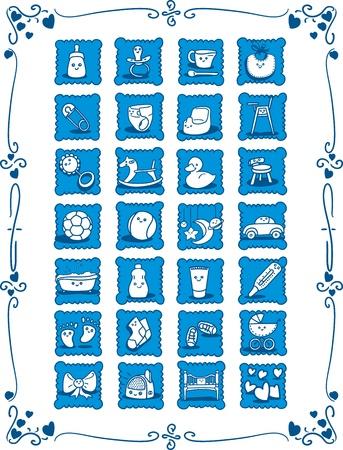 horse drawn: Blue Baby-Theme Cartoon Icons - Doodles