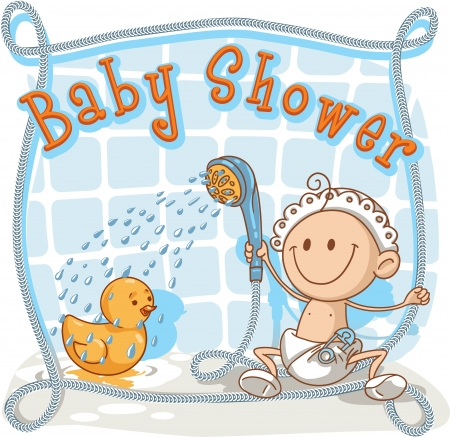 rubber ducky: Baby Shower - Cartoon Invitation  Illustration