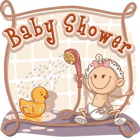 showering: Baby Shower - Vector Cartoon Invitation