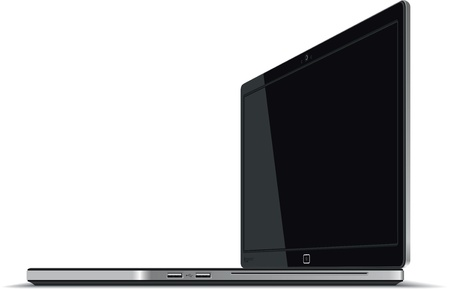 Laptop Right Side Horizontal View - Vector Çizim