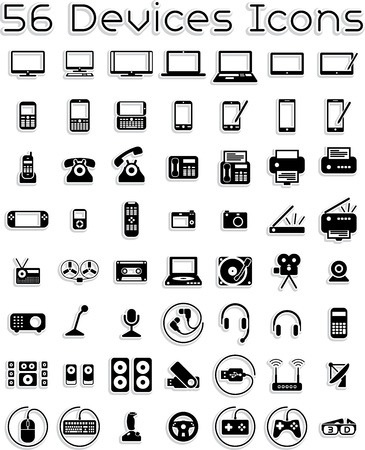 portable audio: Electronic Devices - Vector Icons Set
