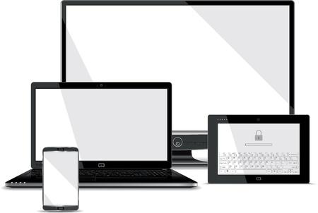 tablette pc: Collection Screens - t�l�phone intelligent, un ordinateur portable, tablette, PC Monitor Illustration