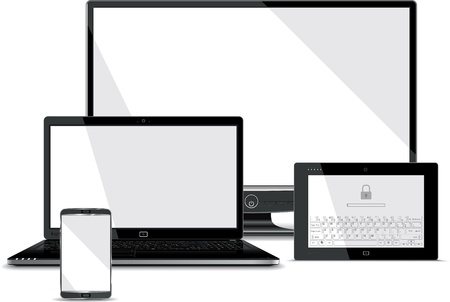 Screens Collection - Smart Phone, Laptop, Tablet, PC Monitor  Vector
