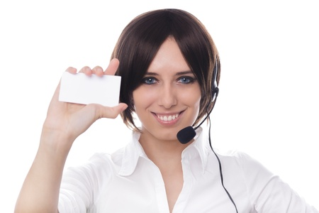 answering call: Call Center Girl with Blank Bussiness Card
