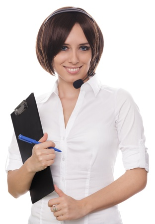 Call Center Girl with Clipboard Stock Photo - 22005470