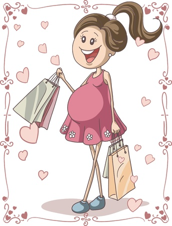 caricature woman: Pregnant Woman with Shopping Bags