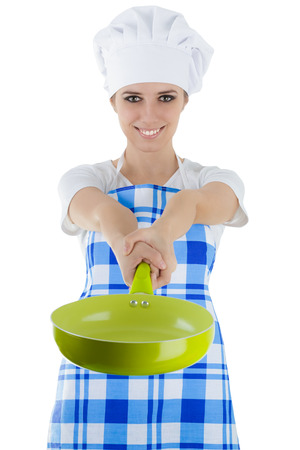 Woman Cook with Pan photo