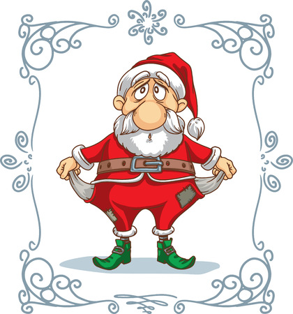 Broke Santa Vector Cartoon Vector