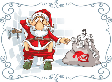 bad hygiene: Santa Is in Trouble - Vector Cartoon