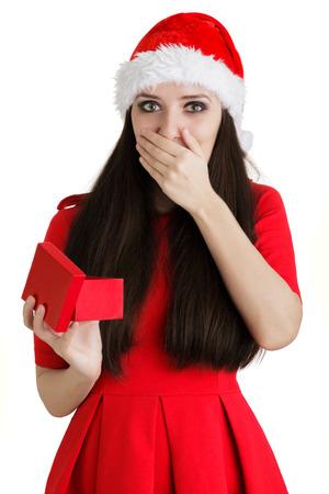 Christmas Girl Holding Present Box photo