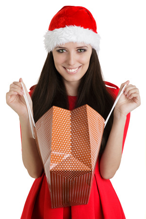 Christmas Girl with Open Shopping Bag photo