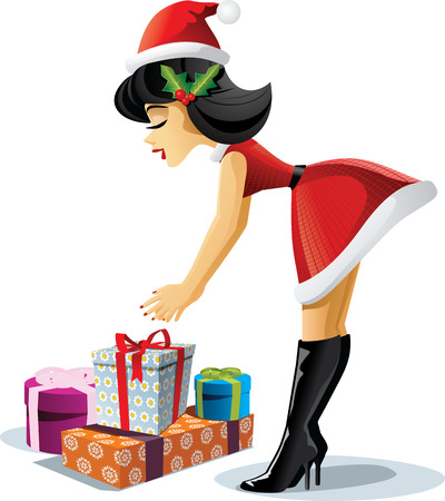 Pin Up Christmas Girl - Vector Cartoon Vectores