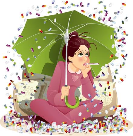 Sick Girl bombardés avec des médicaments - Vector Illustration Vecteurs