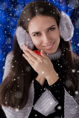 Winter Girl with Small Gift Box photo