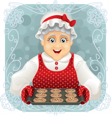 ベクトル イラスト - いくつかのクッキーを焼きのおばあちゃん  イラスト・ベクター素材