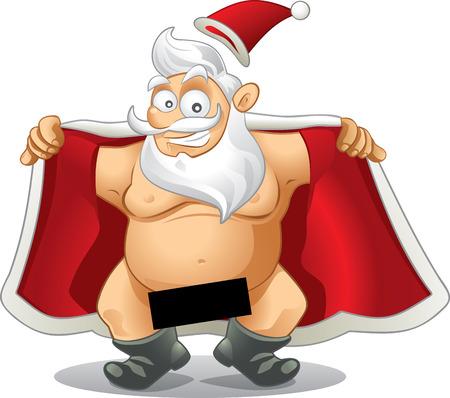 naked man: Crazy Santa - Vector Cartoon  Illustration