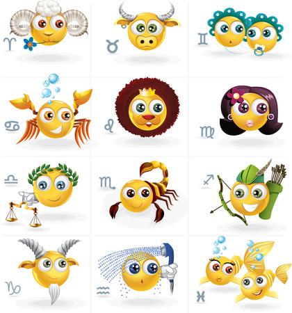 Zodiac Signs - Icons Smiley Figures - Vector Set Stock Vector - 24885349