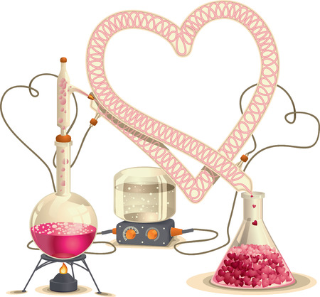 synthesis: Love Chemistry - Vector Illustration  Illustration