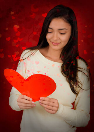 Girl Reading Valentine s Day Card photo
