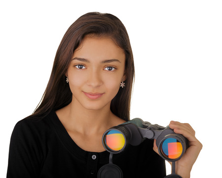 Girl Holding Binoculars photo
