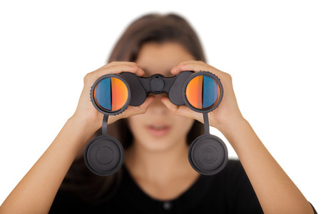 Girl Looking Through Binoculars  photo