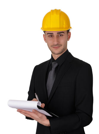 Man with Hard Hat Holding Clipboard  photo