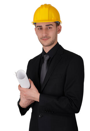 Man with Hard Hat Holding Rolled Up Blueprints  photo