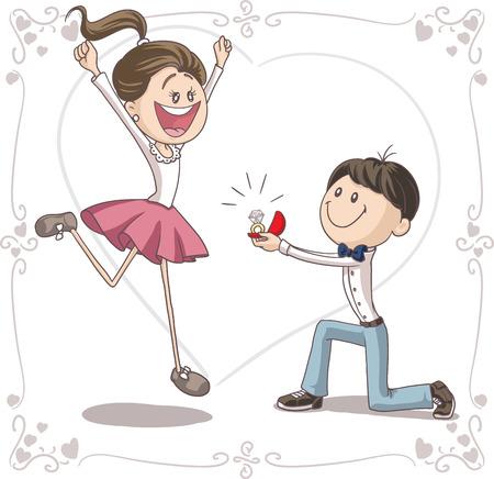matrimonio feliz: Propuesta de matrimonio Vector de dibujos animados