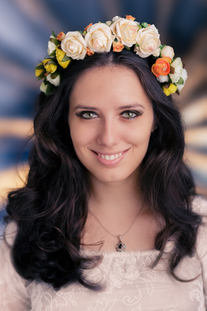 Woman with Floral Wreath  photo